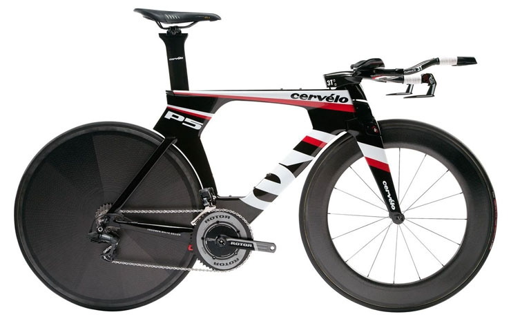 "Cervelo P5. Note the integrated stem, handlebars, fork and front brake. Increasingly, more and more TT bikes are starting to have these same features (FYI, this is what I mean when I say ""Superbike""). Unfortunately, they aren't cheap. This bike as pictured will run you $10,000"