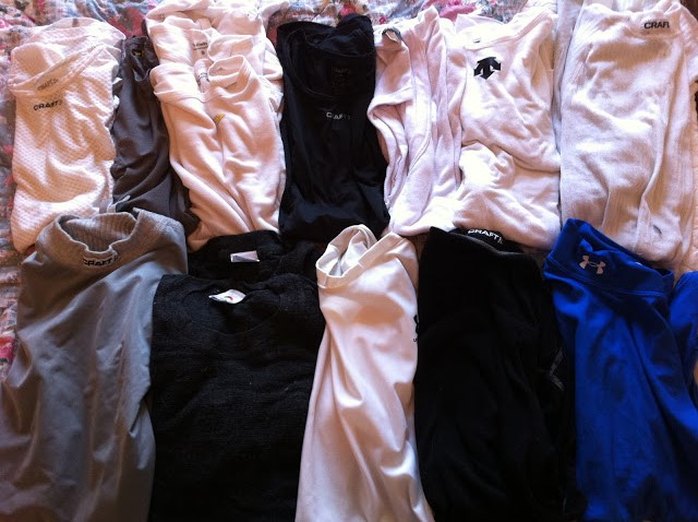 All sorts of base layer options: short sleeve, long sleeve, sleeveless, thermal, wicking, warm weather...