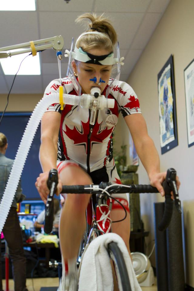 During a VO2 Max test, the rider breathes through a mask. Respiration rate, volume, % of CO2 and O2 are measured to determine efficiency, Ventilatory Threshold and maximal aerobic exertion capability.