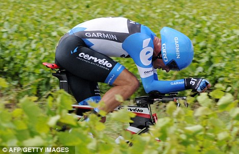David Millar demonstrates proper aerodynamic head placement