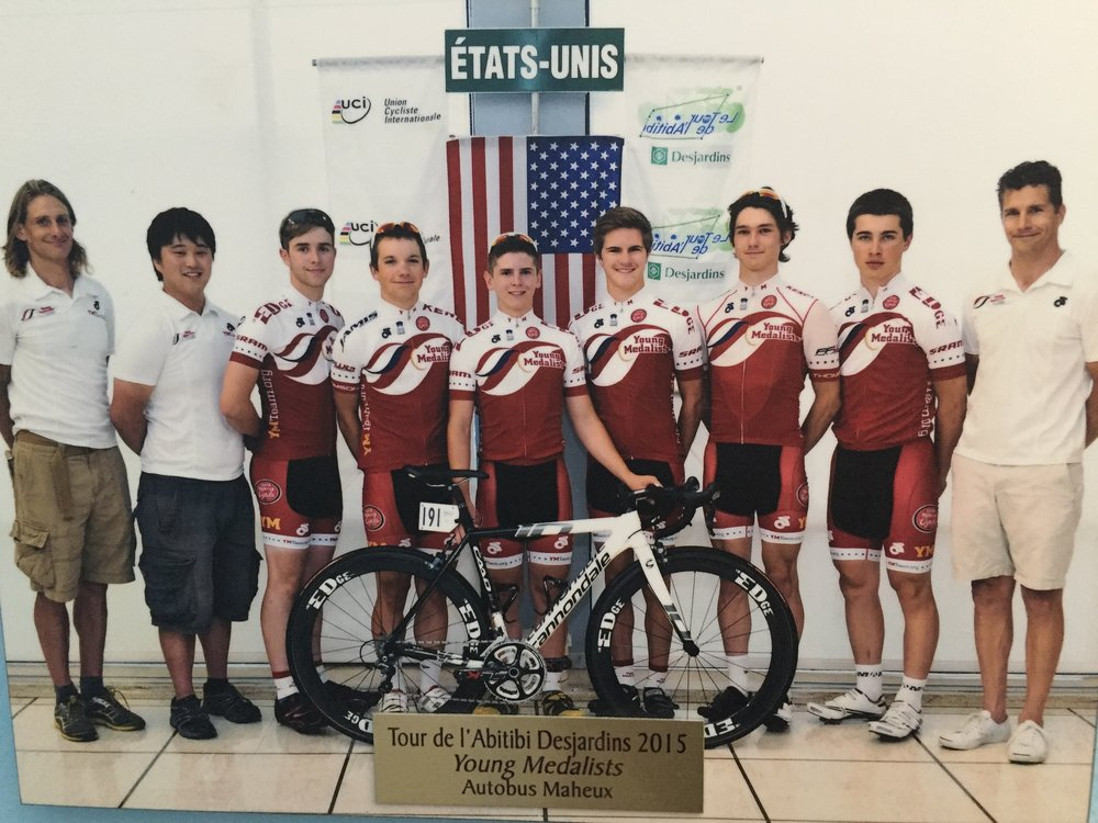2015 Young Medalists Tour de l'Abitibi squad. From left: Bill Elliston, Zach Houlik, Chris Goguen, Alec Ratzell, Zach Lyons, Andrew Dapper, Marcello Cesario, Wyatt Goral and myself