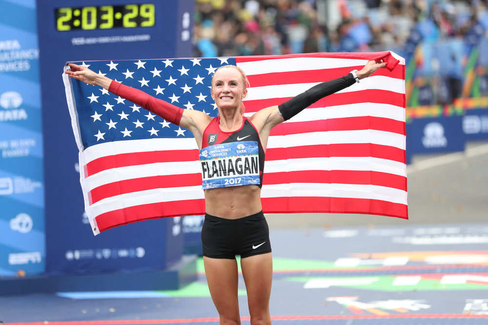Shalene Flanagan winning the NYC Marathon in 2017. This was the first time an American woman had won the race in 40 years.
