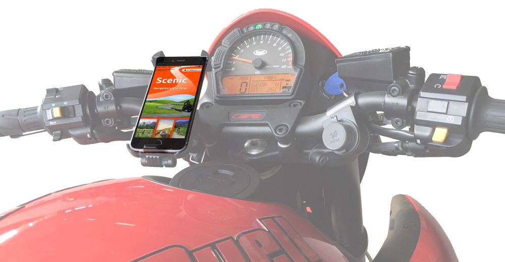 My personal favorite motorcycle GPS app is Scenic by  MotoMappers