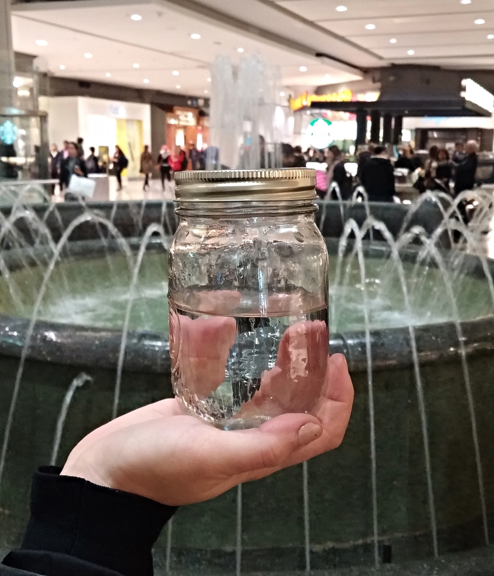 Collected water sample from Toronto Eaton Centre mall fountain.