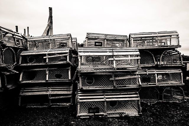 Lobster traps, Blue Rocks, Nova Scotia. While a lot of people see lobster traps as just something put out for the tourists, but this area is still a working fishery and the only reason these traps were there was because it's not the season for that region. #bluerocks #novascotia #blackandwhite #fujifilm #fujifilmxt1