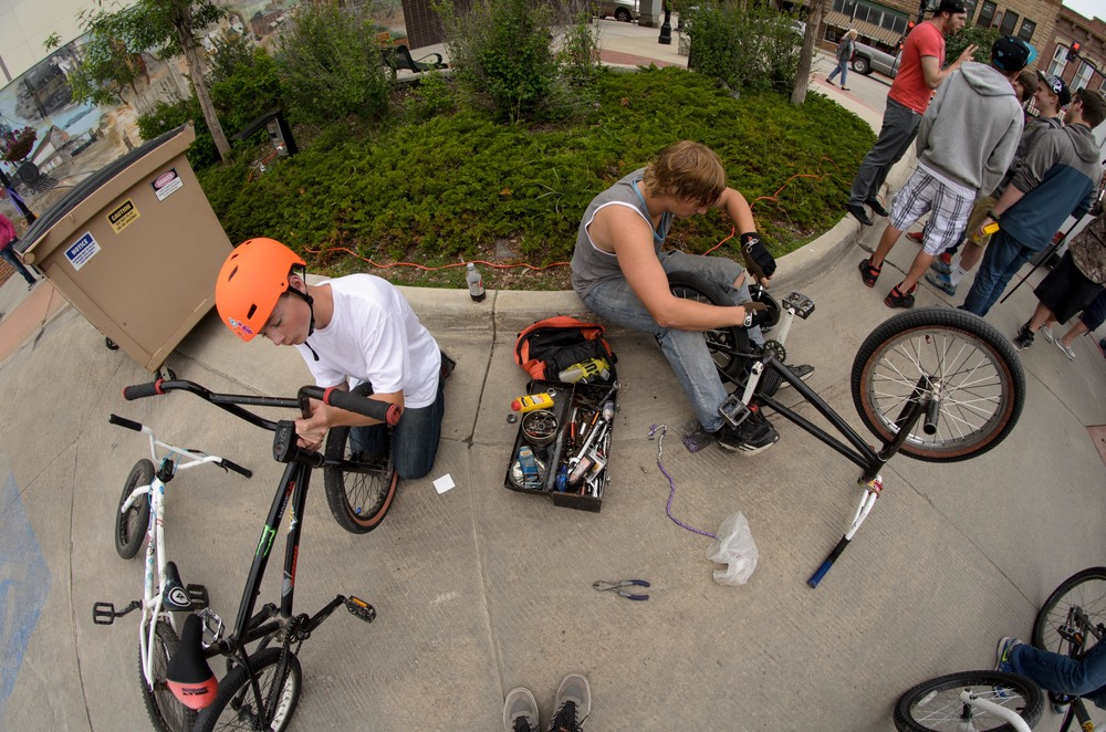 We setup a little repair shop to help the kids get their bikes a bit less loose and scary.