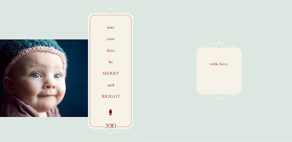 MERRY + BRIGHT, 5 x 5, front and inside view