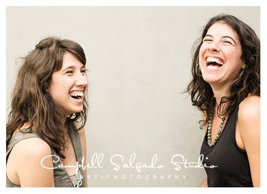 Sisters portrait photography in front of a gray background at Campbell Salgado Studio in Portland, Oregon.