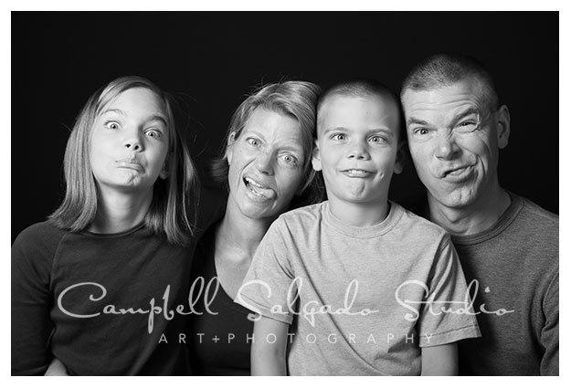 Funny face family portrait in black and white by Campbell Salgado Studio in Portland, Oregon.