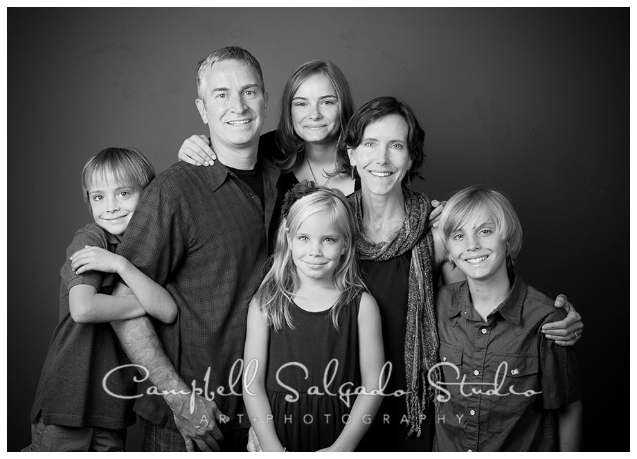 B&W portrait of family by Campbell Salgado Studio.