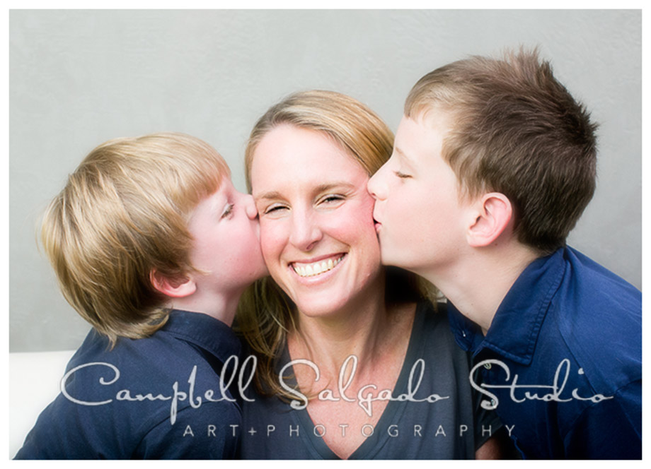 Portrait of mother and sons at Campbell Salgado Studio.