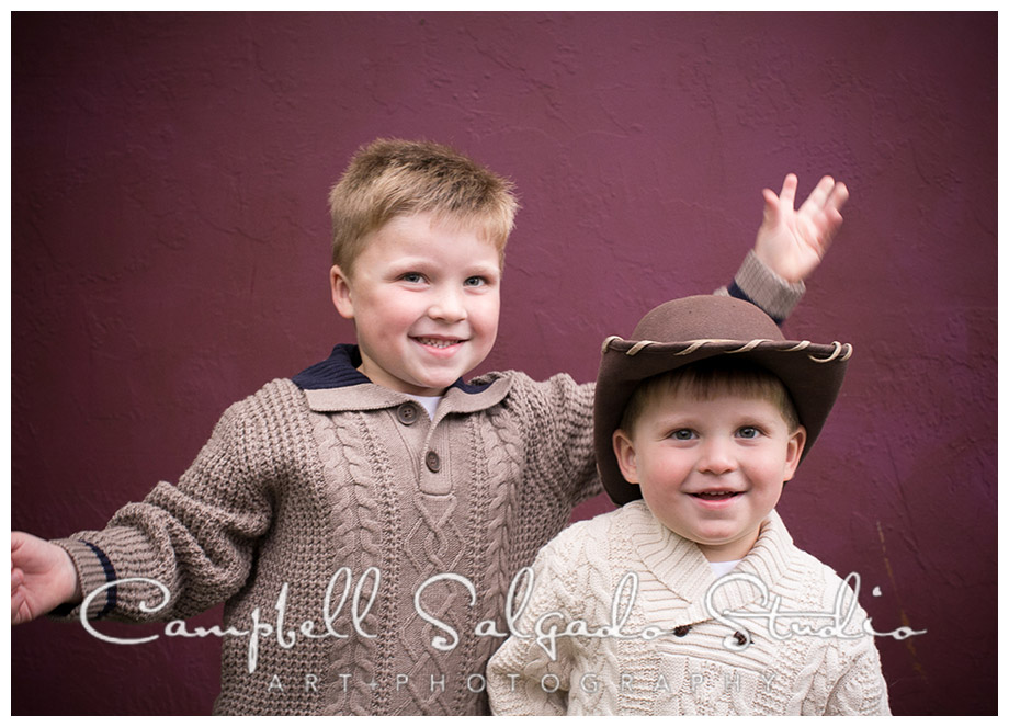 Portrait of boys on plum background at Campbell Salgado Studio.