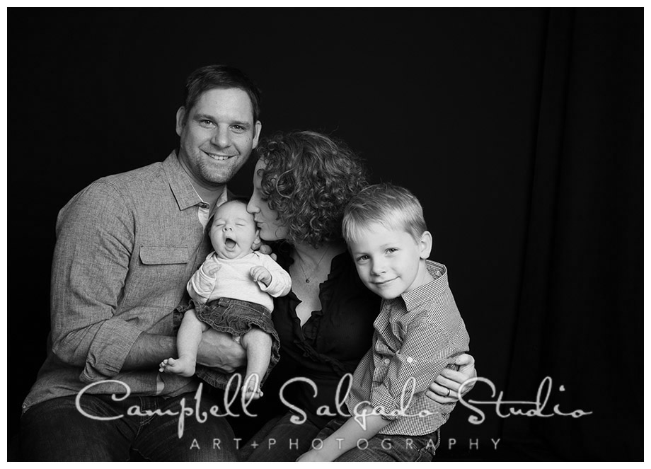Portrait of young family in B&W at Campbell Salgado Studio.