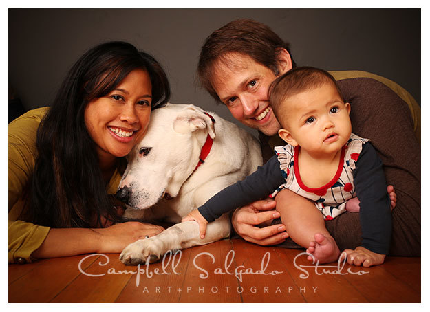 Family photography with dog and baby by Campbell Salgado Studio in Portland, Oregon.