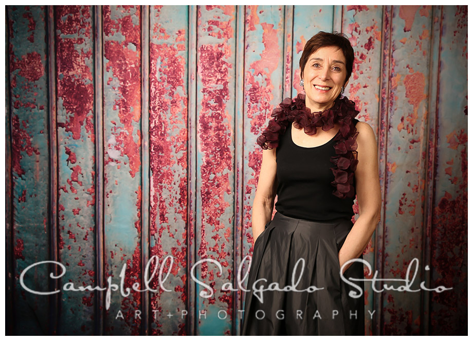 Portrait of woman on italian metal background at Campbell Salgado Studio in Portland, Oregon.