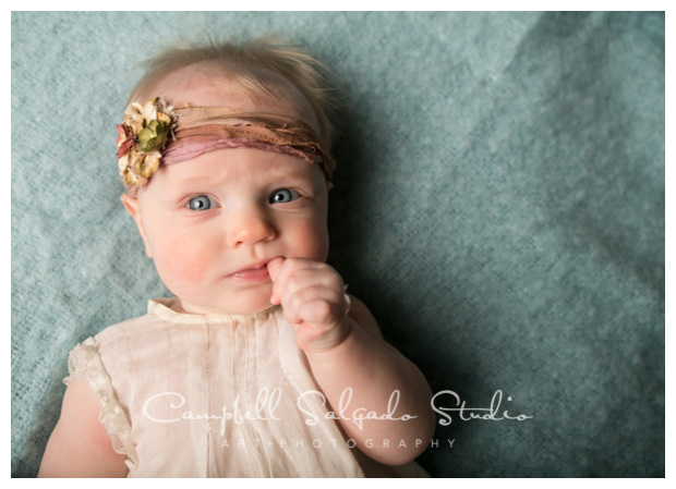 Baby photography of three month old girl taken by Kim Campbell of Campbell Salgado Studio in Portland, Oregon.