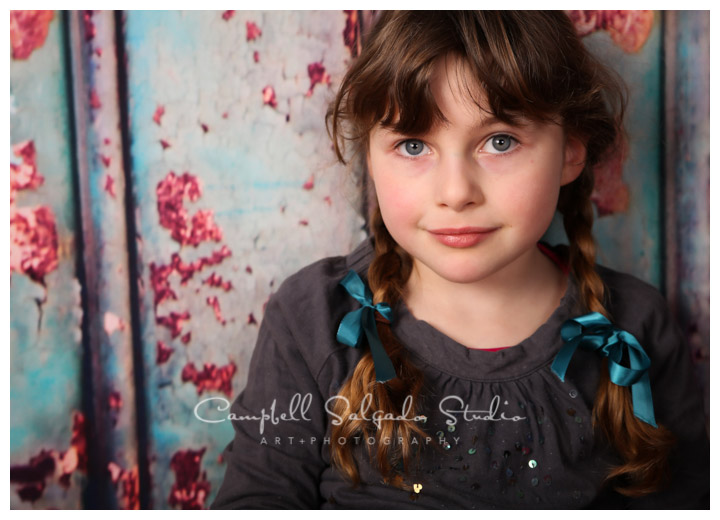 Portrait of young girl on Italian metal background at Campbell Salgado Studio.