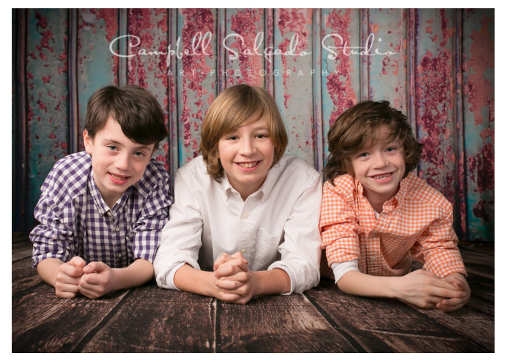 Portrait of boys on Italian metal background at Campbell Salgado Studio.
