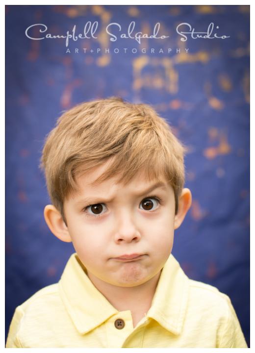"Portrait of little boy on ""Frida"" background at Campbell Salgado Studio."