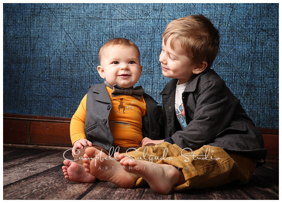Portrait of brothers on denim background at Campbell Salgado Studio.