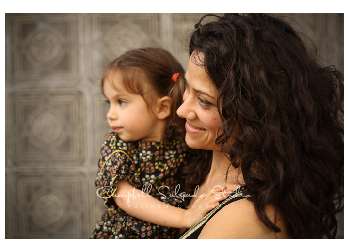 Portrait of mother and child on vintage tiles background at Campbell Salgado Studio.