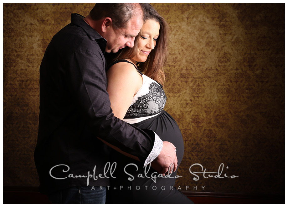 Portrait of couple on vintage amber background at Campbell Salgado Studio.