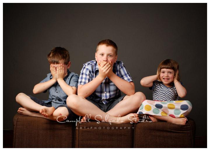 Portrait of kids on grey background at Campbell Salgado Studio.