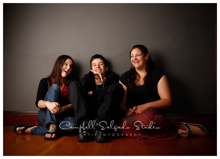 Portrait of teens on grey background at Campbell Salgado Studio.