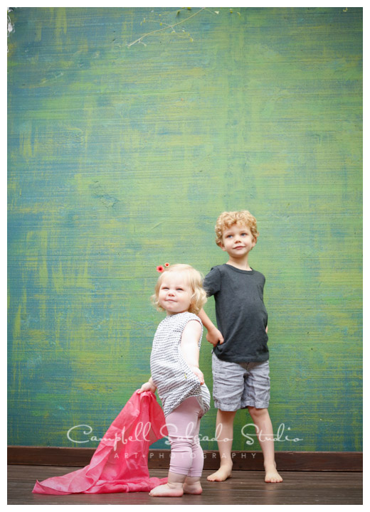 Portrait of kids on green weave background at Campbell Salgado Studio.