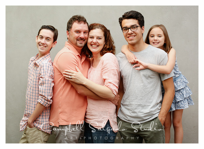 Family photography of two parents and three children by family photographers Campbell Salgado Studio.