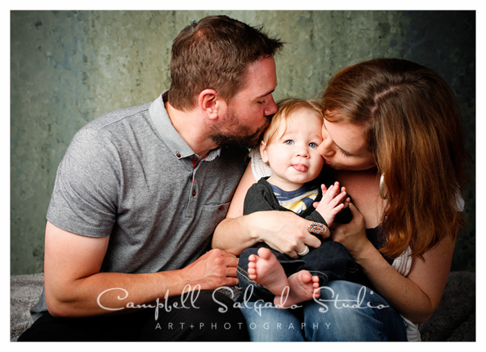 Family photographers at Campbell Salgado Studio in Portland, Oregon capture mom, dad and baby boy.