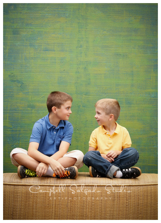 Portrait of boys on green weave background at Campbell Salgado Studio.