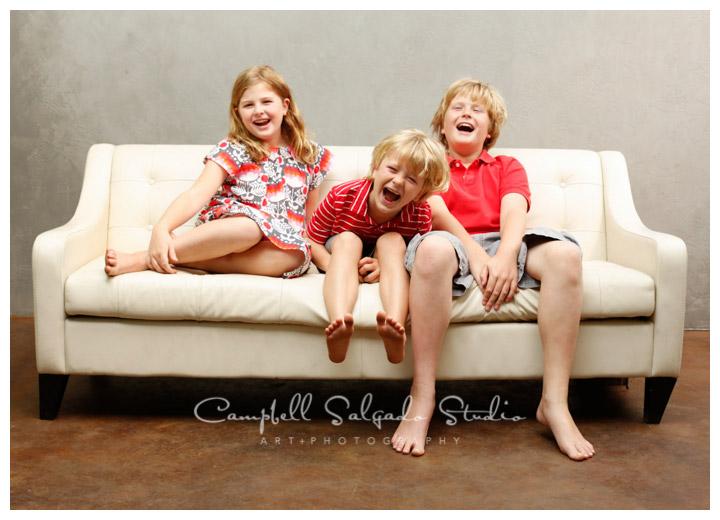 Portrait of kids on modern grey background at Campbell Salgado Studio.