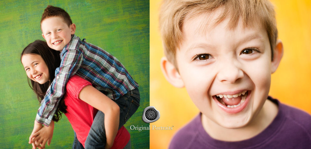 Child photography—of smiling kids against green and yellow backgrounds—by Portland, Oregon children's photographers at Campbell Salgado Studio.