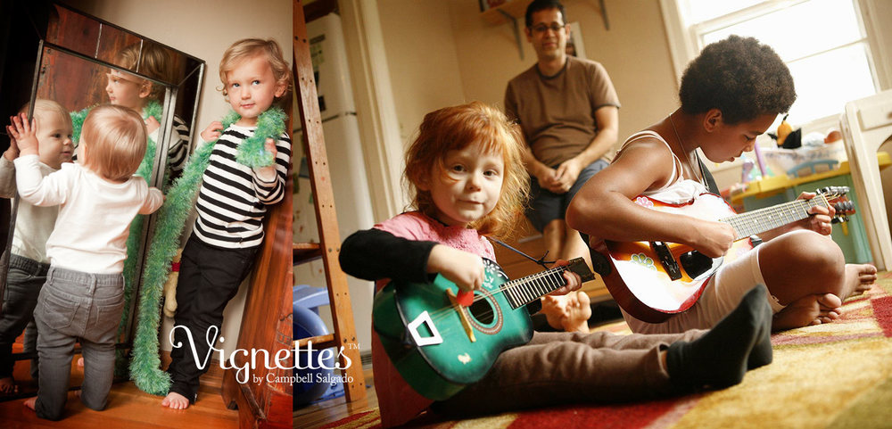Vignette's on location photography—of two girls by a mirror and playing guitar—by Portland, Oregon children's photographers at Campbell Salgado Studio.