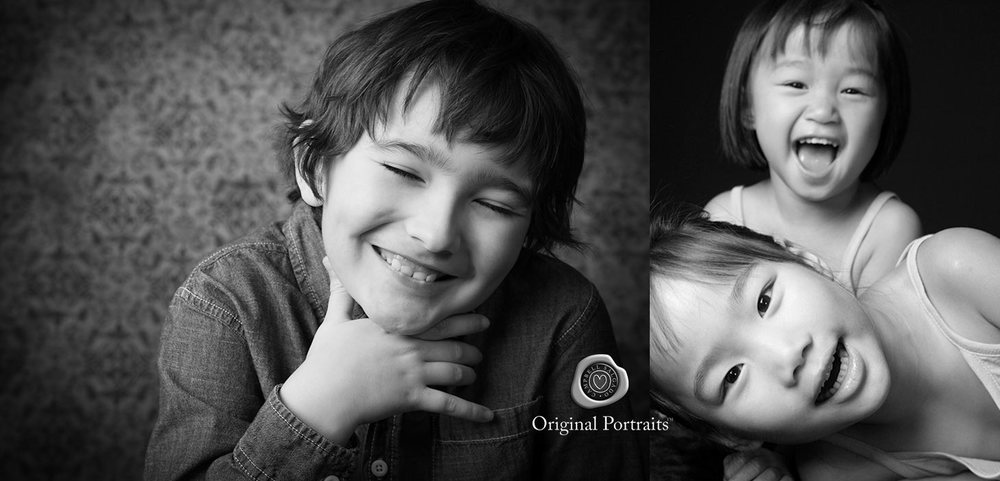 Black and white children's photography—of a laughing boy and laughing girls—by Portland, Oregon child photographers at Campbell Salgado Studio.