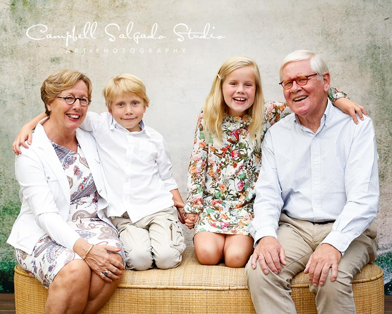 Child photography—of smiling kids with grandparents—by Portland, Oregon children's photographers at Campbell Salgado Studio.