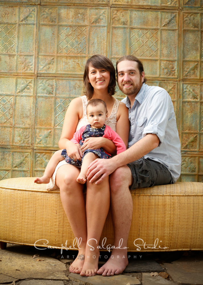 Portrait of family on vintage colored tin background by family photographers at Campbell Salgado Studio, Portland, Oregon.