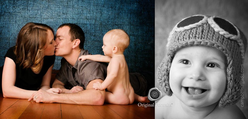 Baby photography—of a family and a baby with a knit hat—by Portland, Oregon baby photographers at Campbell Salgado Studio.
