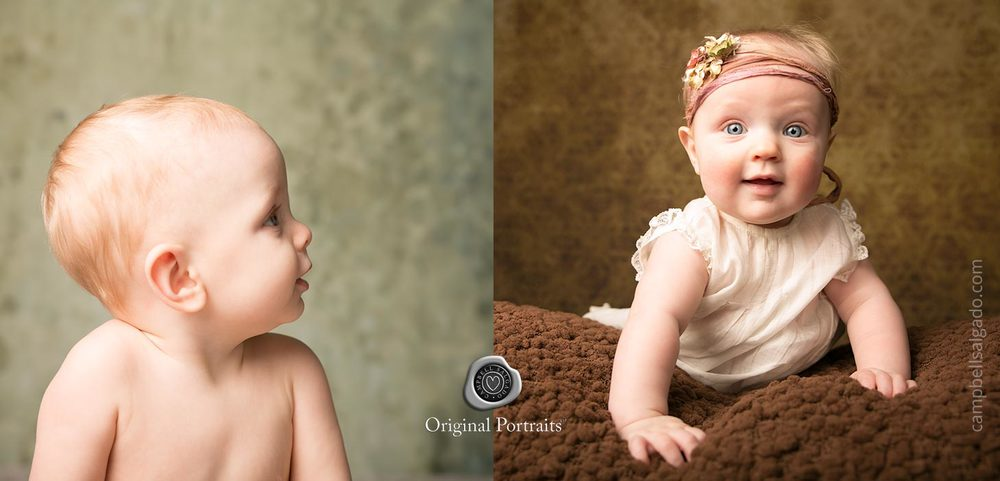 Baby photography—of babies against yellow and green backgrounds—by Portland, Oregon baby photographers at Campbell Salgado Studio.