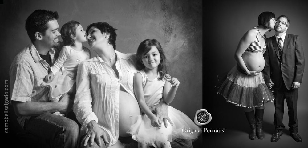 Black and white maternity photography of a family with two girls and a pregnant mother by Portland, Oregon maternity photographers at Campbell Salgado Studio.