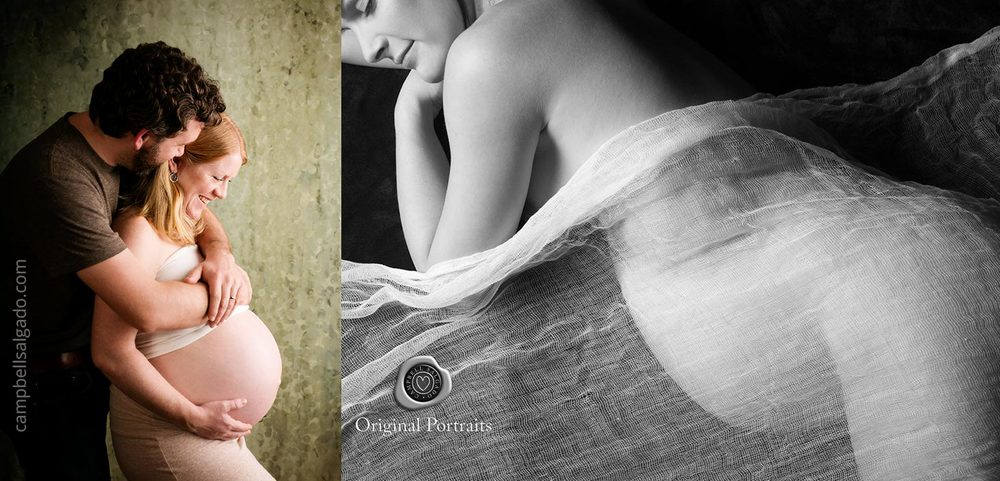 Black and white maternity photography—belly draped in gauze and a happy couple—by Portland, Oregon maternity photographers at Campbell Salgado Studio.