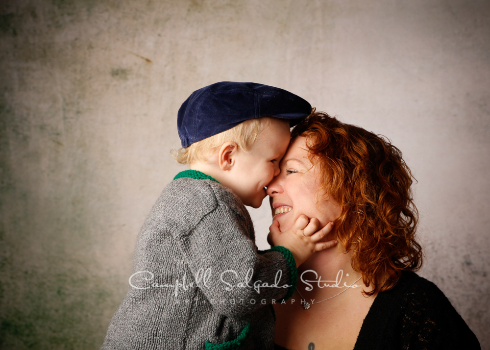 Portrait of mother and son on abandoned concrete background by family photographers at Campbell Salgado Studio, Portland, Oregon.