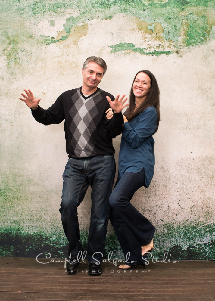 Portrait of couple on abandoned concrete background by family photographers at Campbell Salgado Studio, Portland, Oregon.