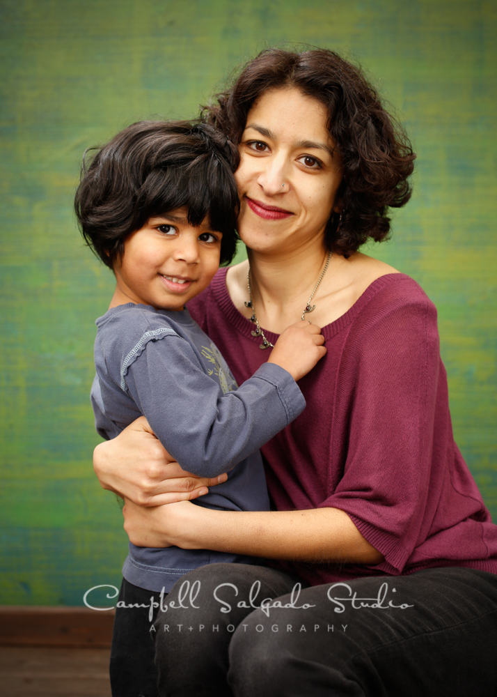 Portrait of mother and son on blue green weave background by family photographers at Campbell Salgado Studio, Portland, Oregon.