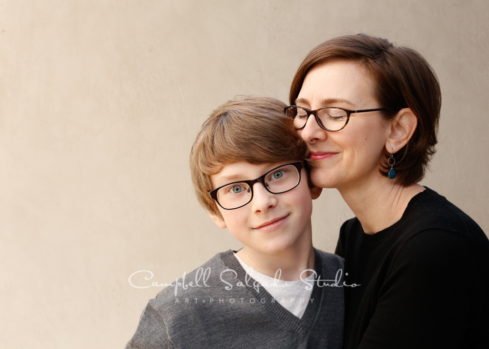 Portrait of mother and son on modern grey backgroundby family photographers at Campbell Salgado Studio, Portland, Oregon.