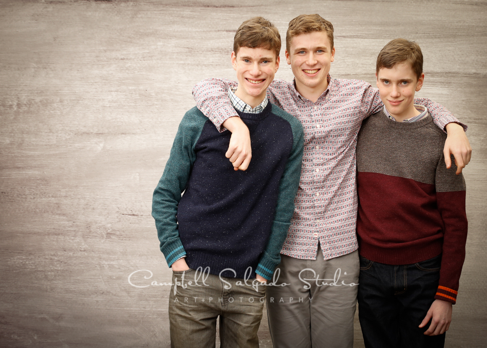 Portrait of brothers on graphite background by family photographers at Campbell Salgado Studio, Portland, Oregon.