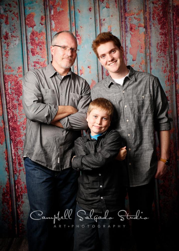 Portrait of father and sonson Italian rustbackgroundby family photographers at Campbell Salgado Studio, Portland, Oregon.