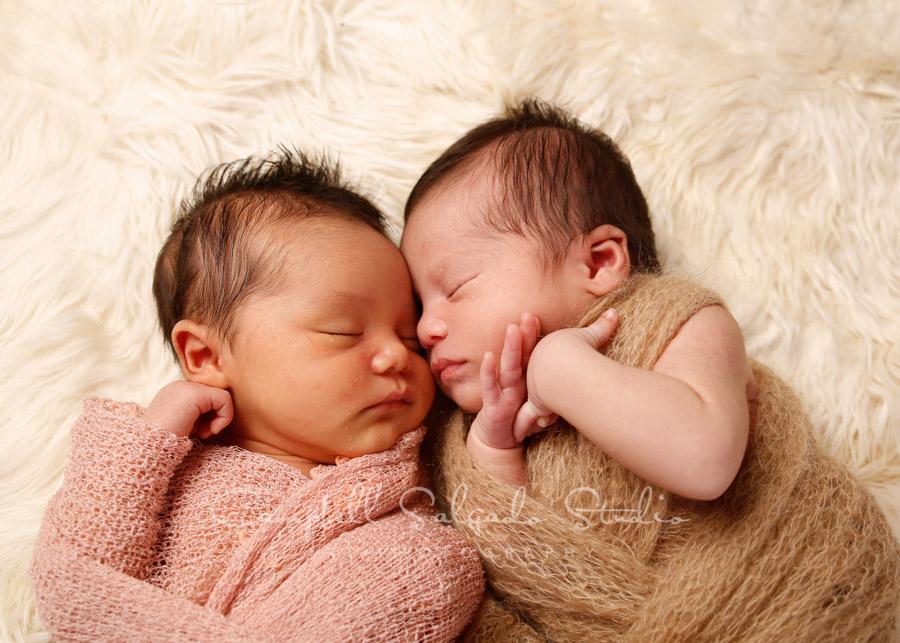 Portrait of twin newborns on alpaca background by newborn photographers at Campbell Salgado Studio in Portland, Oregon.