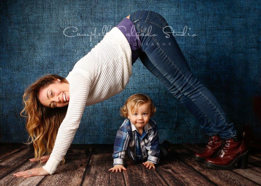 Portrait of mother and child on denim background by family photographers at Campbell Salgado Studio in Portland, Oregon.